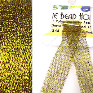 Italian Metallic Mesh Ribbon, Old Gold