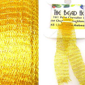 Italian Metallic Mesh Ribbon, Bright Gold