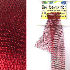 Italian Metallic Mesh Ribbon, Wine