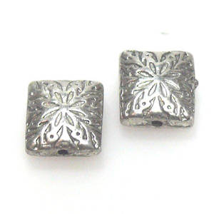 Metal Bead, flat rectangle with flower design
