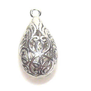 Metal Bead, hollow filigree drop