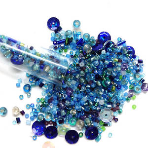 Chinese Seed Bead Mix -aqua and blue