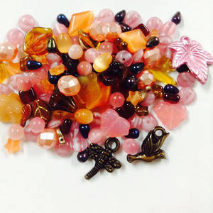 Cats Eye Bead MIX: Pink Autumn