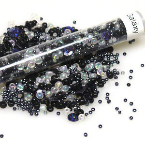Seed Bead Mix, 25gm - black, greys, white
