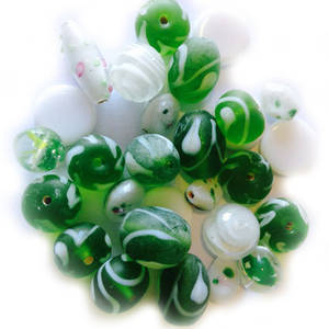 LAMPWORK MIX 5: Green and White