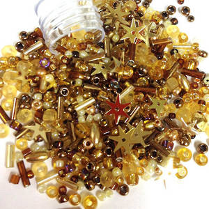 Seed Bead Mix, 15gm - GOLDEN