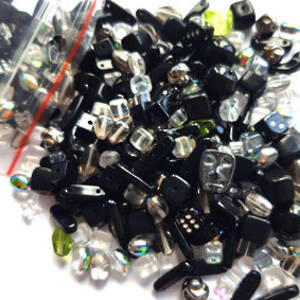 NEW! Pressed Glass Bead MIX: Blacks