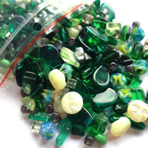 NEW! Pressed Glass Bead MIX: Emeralds