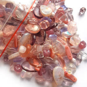 NEW! Pressed Glass Bead MIX: Vintage Pink