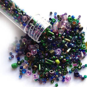 NEW! Seed Bead Mix, 15gm - DEEP PURPLE & GREEN