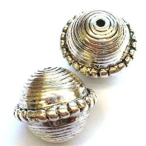 Metalised plastic, round bali style bead