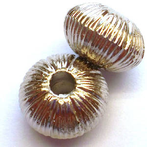 Metal bead, fat rhondelle with ridges