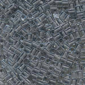 4mm Miyuki Square: 240 - Grey, colour lined