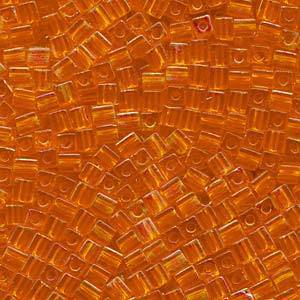 4mm Miyuki Square: 253 -  Rainbow Orange, transparent