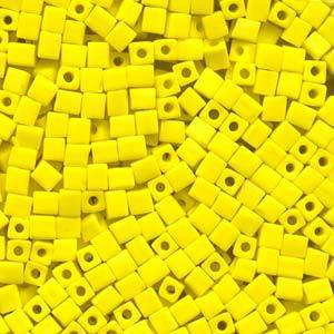 4mm Miyuki Square: 404F - Opaque Frosted Yellow