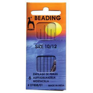 NEW! Pony Beading Needles, 6 pack: Size 10/12