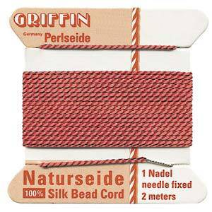 Griffin Silk Cord - Coral - Size 2 (0.45mm)