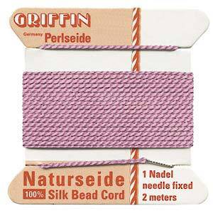 Griffin Silk Cord - Pink, dark - Size 2 (0.45mm)
