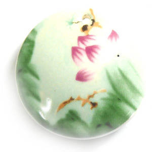 Large Porcelain Disc with domed middle,  40mm, flower and bird pattern