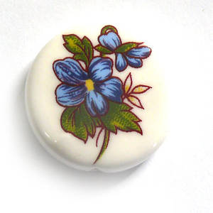 Porcelain Flat Disc, 25mm, blue flower