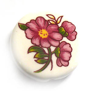 Porcelain Flat Disc, 25mm, pink flower