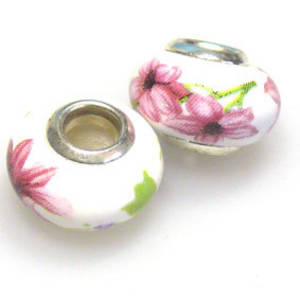 Pandora Style Porcelain Bead, Pink and Green Floral