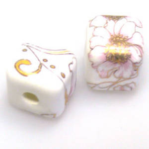 Porcelain Cube, 12mm, delicate pink floral with gilt detail