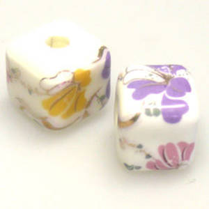 Porcelain Cube, 12mm, purple, pink and yellow floral