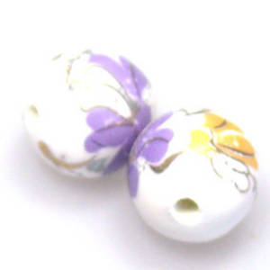 Porcelain Round Bead, 12mm. Violet, yellow, pink flower and leaf pattern with gilt detail