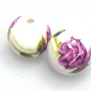 Porcelain Round Bead, 12mm. Deep pink and forest green flower and leaf pattern.