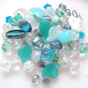 NEW! Pressed Bead Mix - Aqua and Clear (larger beads)