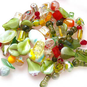 NEW! Pressed Bead Mix - Green/Yellow/Orange (larger beads)