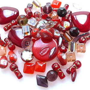 NEW! Pressed Bead Mix - Reds (larger beads)