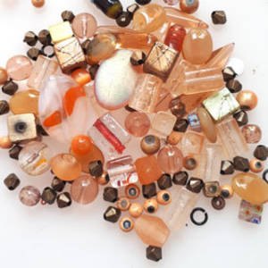 Pressed Glass Bead MIX: Peachy