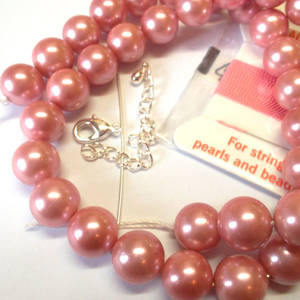 KITSET, Pearl Necklace, 10mm pink shell pearls, pink silk thread