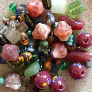 Pressed Glass Bead MIX, autumns