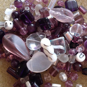 Pressed Glass Bead MIX, amethysts