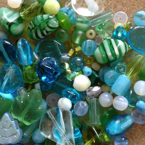 Pressed Glass Bead MIX, aqua and green