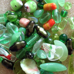 Pressed Glass Bead MIX, green with a touch of orange