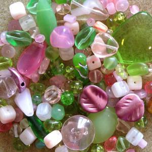 Pressed Glass Bead MIX, green and pink