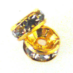 Metal Spacer: 8mm rhondelle, gold with crystal coloured stones