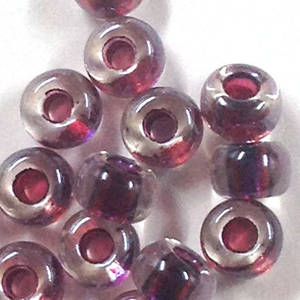 Miyuki size 6 round: 757 - Purple/Maroon/Clear, colour lined