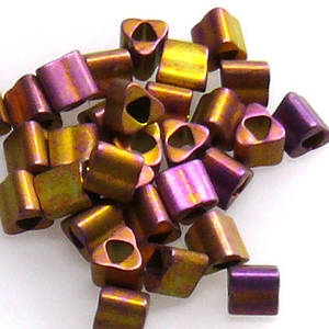 Miyuki size 8 triangle: F460S - Frosted Metallic Gold/Purple Shimmer