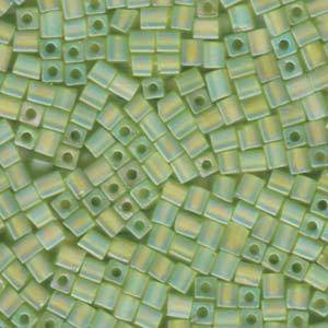4mm Miyuki Square: R143 - Lime Rainbow Frosted