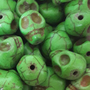 Howlite Skull: Small - Grass Green