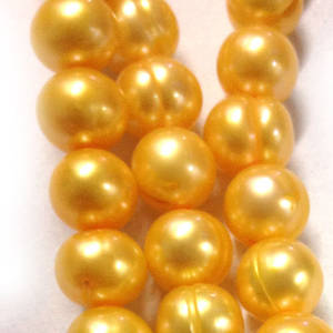 40cm Freshwater Pearl Strand: Golden Yellow ringed rounds, 8mm