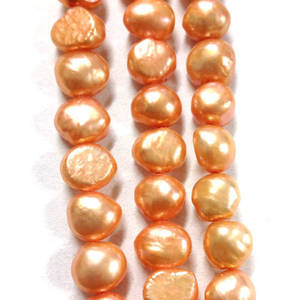 NEW! 40cm Freshwater Pearl Strand: Light Peachy Orange (uneven) 8mm