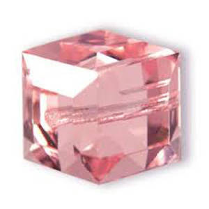 8mm Swarovski Crystal Cube, Rose, light