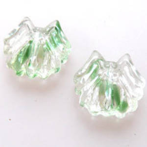 NEW! Glass Spider Bead, 14mm - Green/Transparent Mix
