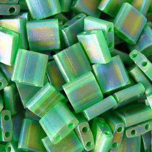 Tila Bead, 5mm, Transparent Green AB